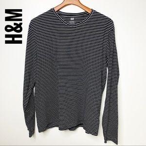H&M Men's Black & White Striped Slim Fit Tee Sz XL